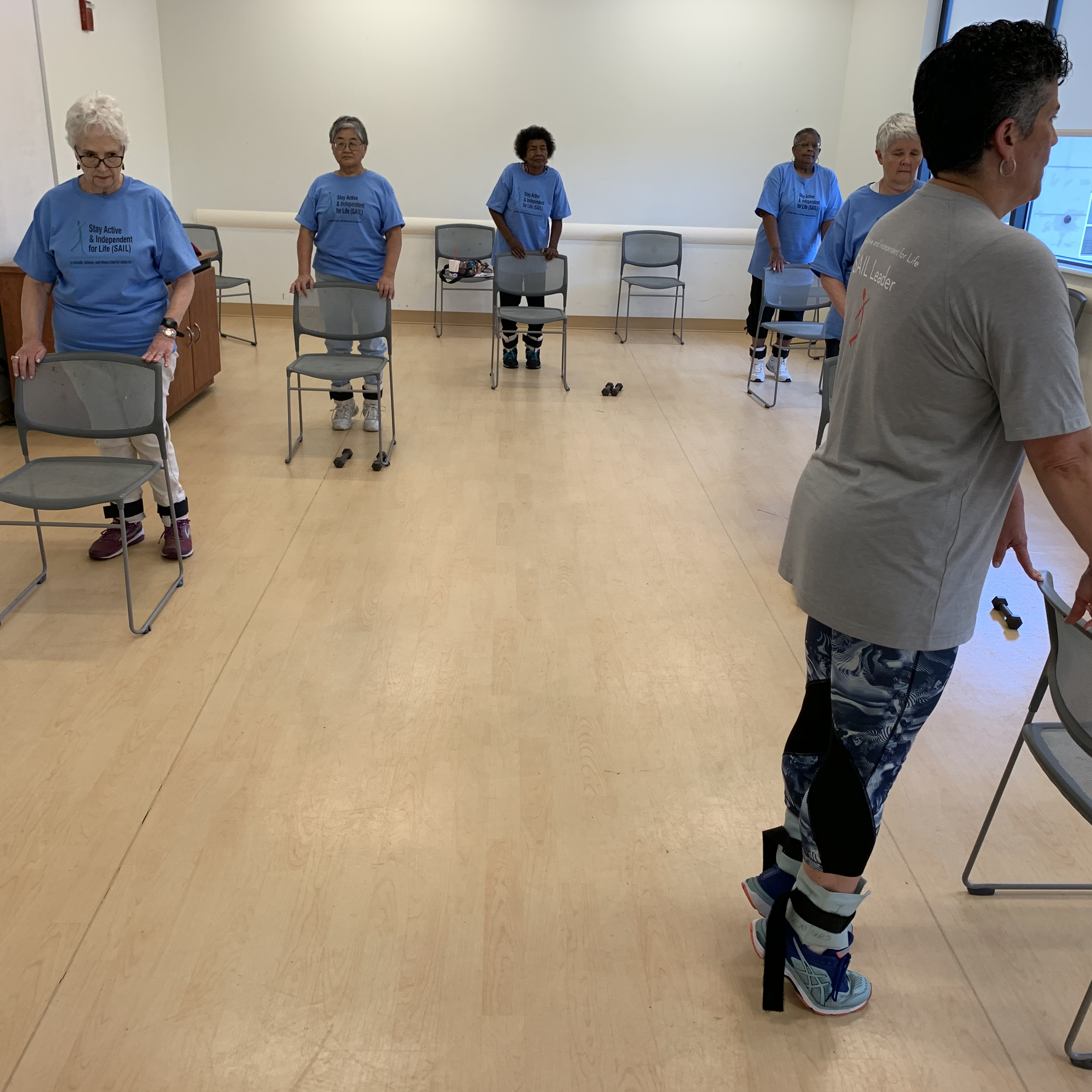 Group falls prevention fitness class