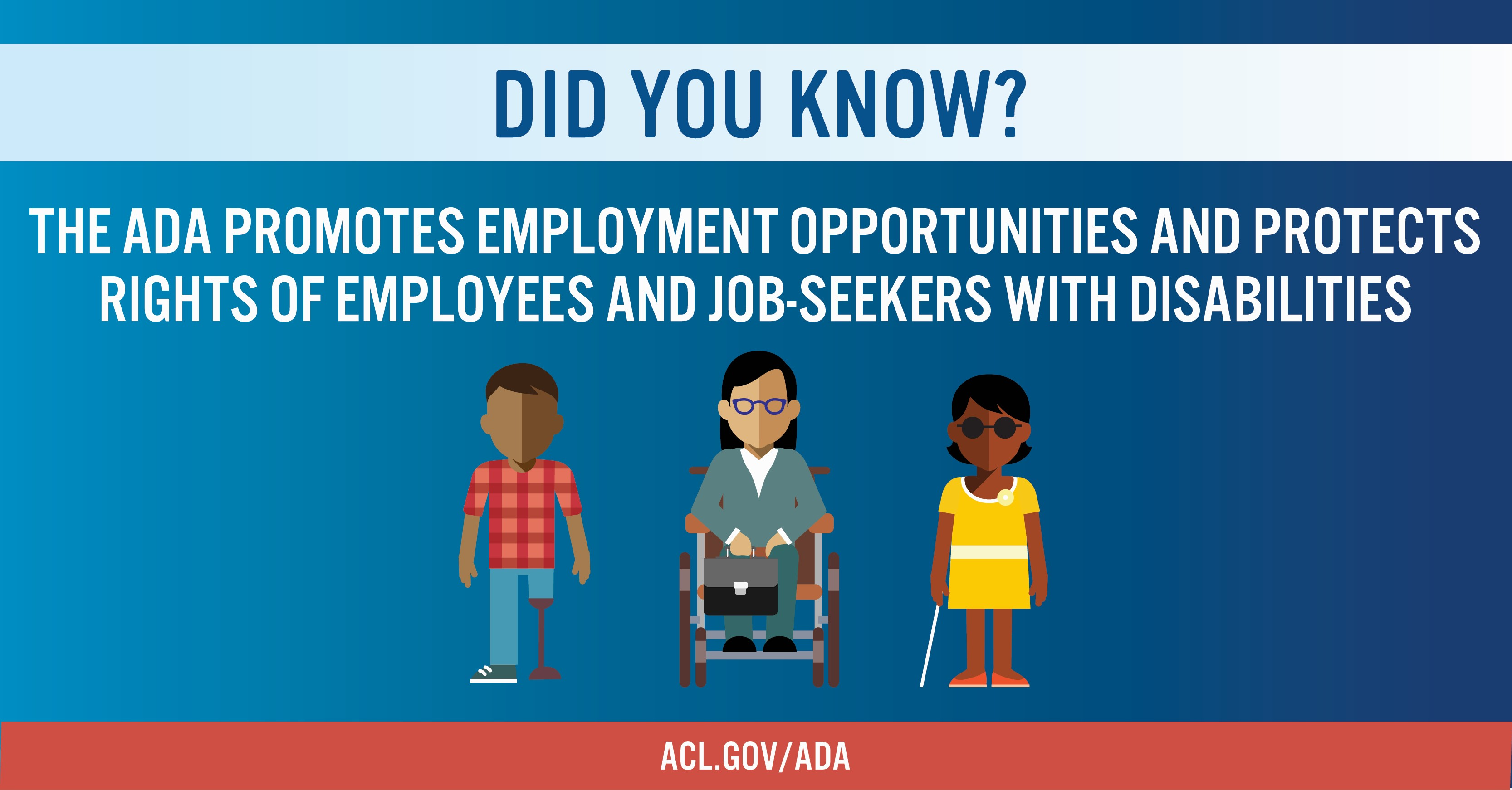 The ADA promotes employment opportunities and protects rights of employees and job seekers with disabilities