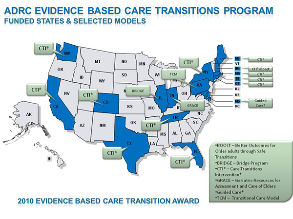 ADRC Evidence Based Care Transitions Program Funded States and Selected Models Map