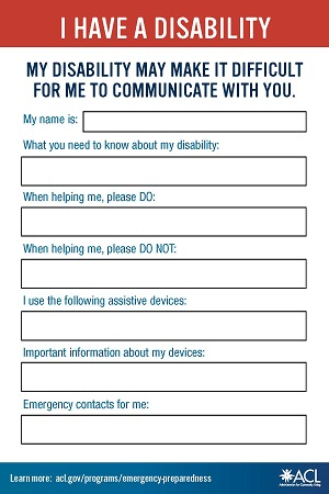 Emergency information card to communicate about disability