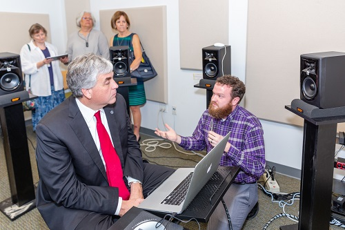 HHS Deputy Secretary Eric Hargan participates in technology demonstration simulating a noisy real-world environment at Gallaudet University with David Thornton.