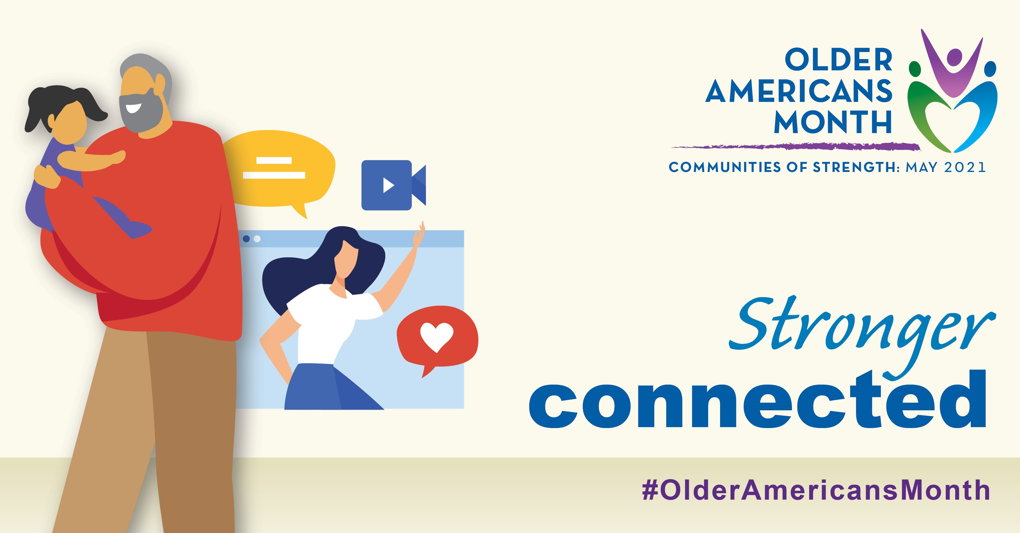 Social Media Graphic: Communities of Strength, Older Americans Month, May 2021. Stronger Connected. #OlderAmericansMonth