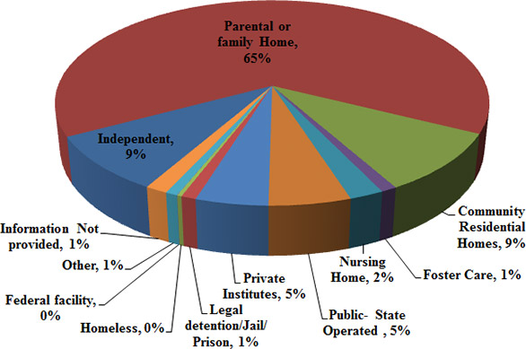 Bar chart of Client's Living Arrangements by facility