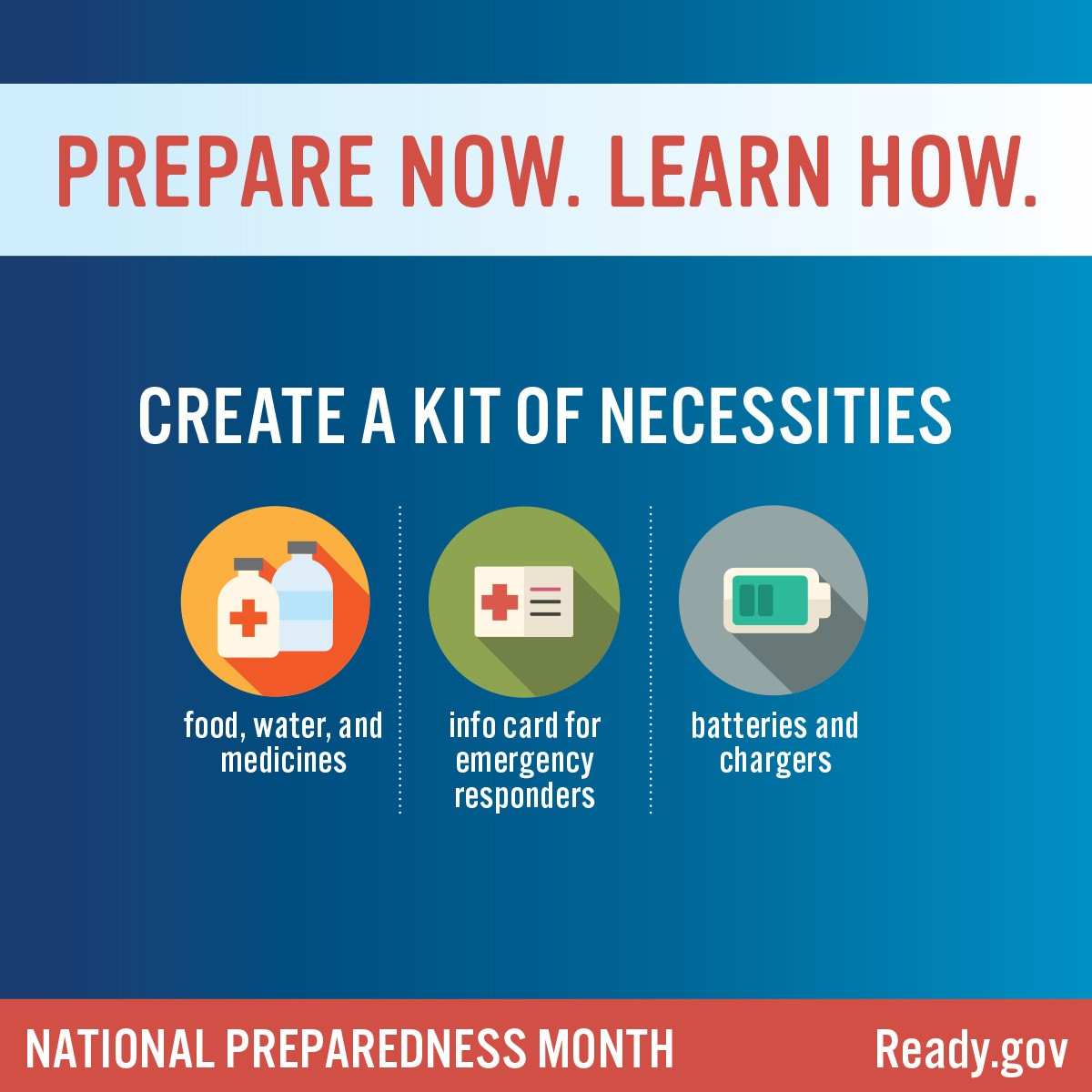 Create a kit of necessities: food, water, and medicines; info card for emergency responders; batteries and chargers