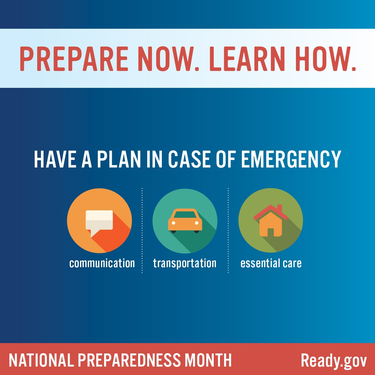 Have a plan in case of emergency: communication, transportation, and essential care