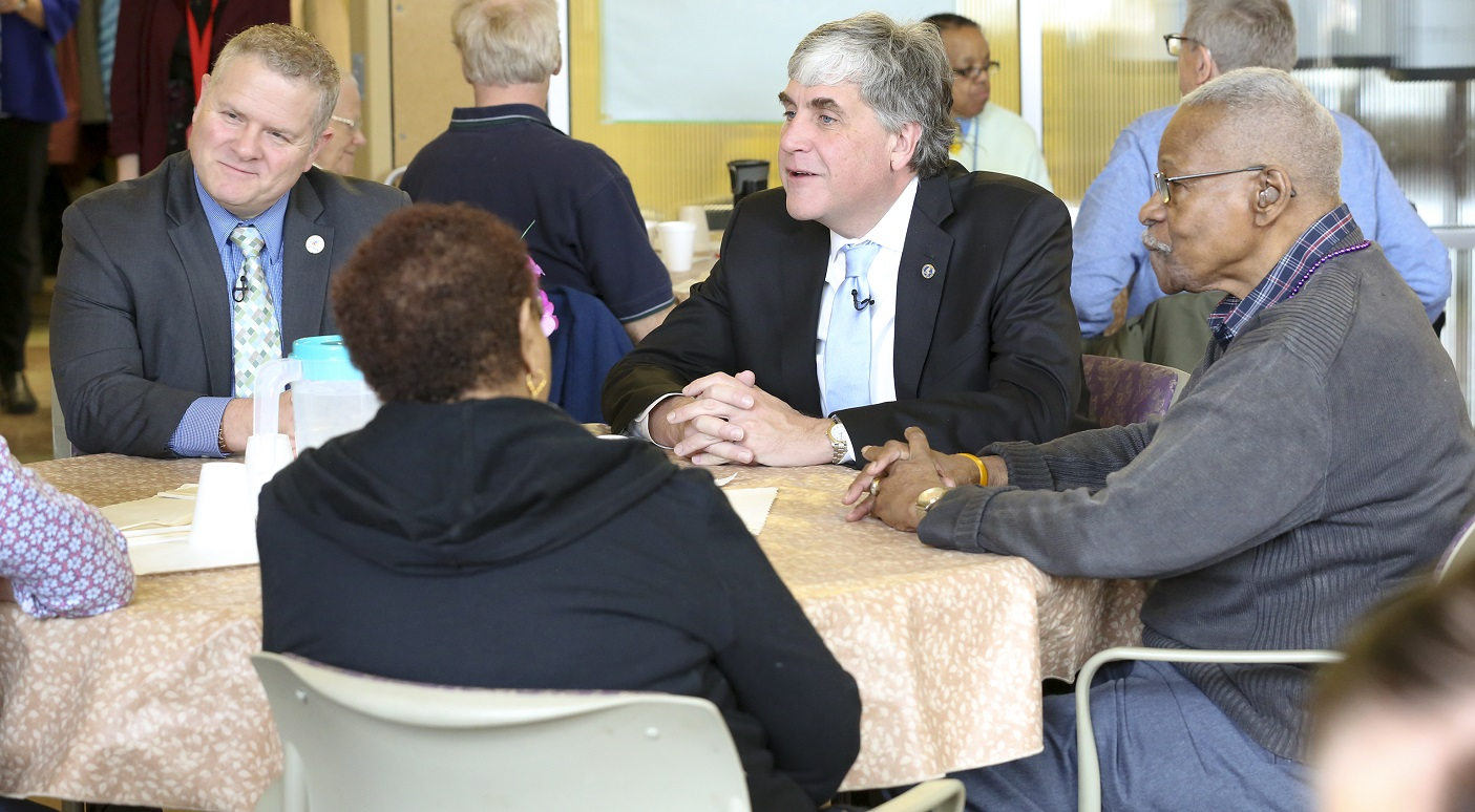HHS Deputy Secretary Eric Hargan and ACL Administrator Lance Robertson meet with older adults at the Walter Reed Center