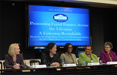 Photo of Nora Super, Tina Tchen, Nadina Gracia, Carolyn Colvin, and Kathy Greenlee at the White House, April 24, 2015