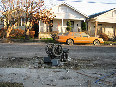 Photo of Street scene in formerly flooded Hollygrove neighborhood of New Orleans