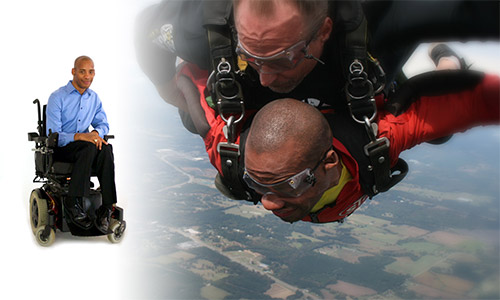 Unconfined Career image with man in wheelchair skydiving